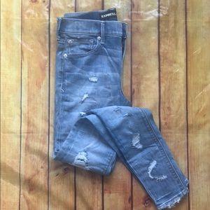 Express distressed jean leggings 2R, NWOT